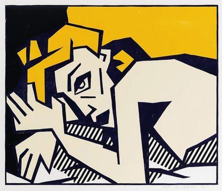 Holzschnitt Lichtenstein - Reclining Nude