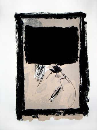 Stich Tapies - Rectangle Noir Et Collage
