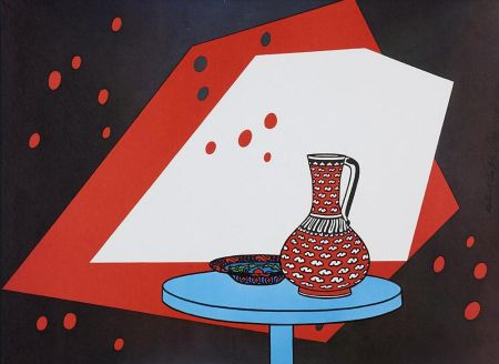 Lithographie Caulfield - Red and White Still Life