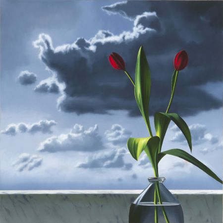 Keine Technische Cohen - Red Tulips Against Cloudy Sky