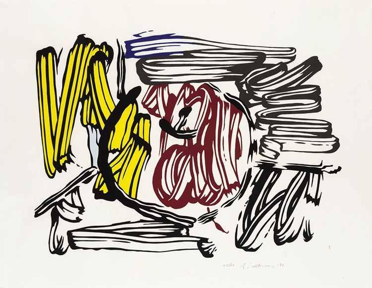 Holzschnitt Lichtenstein - Red & Yellow Apple