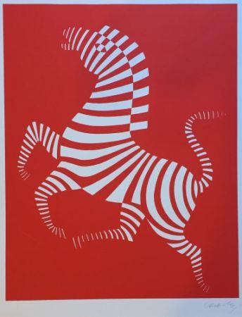 Siebdruck Vasarely - Red zebra