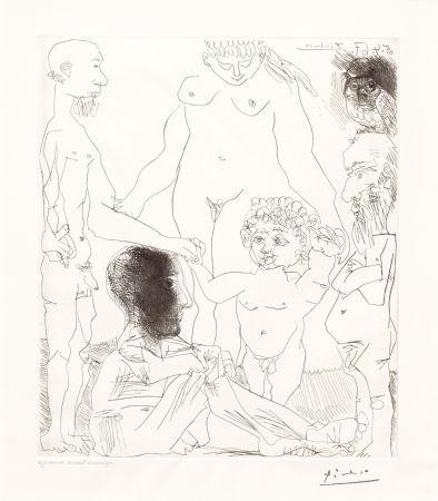 Kaltnadelradierung Picasso - Reflexion du Peintre sur la Vie