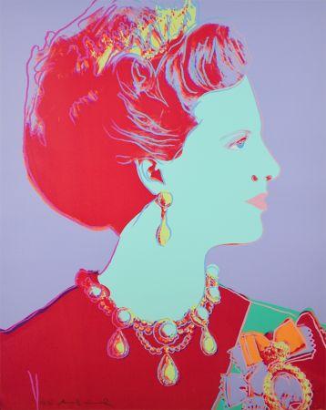 Siebdruck Warhol - Reigning Queens Series, Queen Margrethe II of Denmark (Violet)