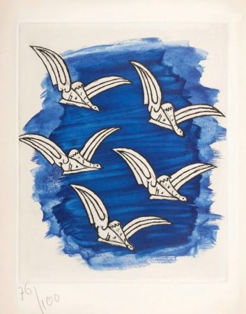 Illustriertes Buch Braque - René Char : LA BIBLIOTHÈQUE EST EN FEU. Avec une gravure originale de Georges Braque. 1956.