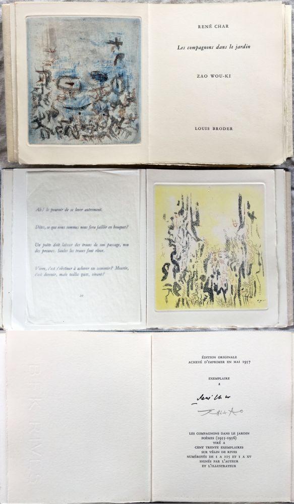 Illustriertes Buch Zao - René Char : LES COMPAGNONS DANS LE JARDIN. 4 gravures originales en couleurs (1957)
