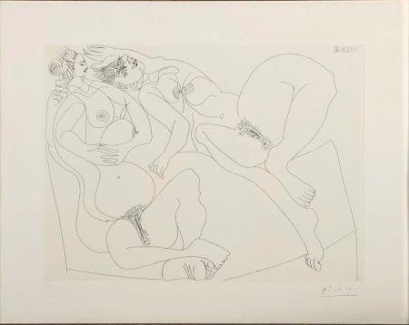 Radierung Picasso - Repos. Deux Filles Bavardant