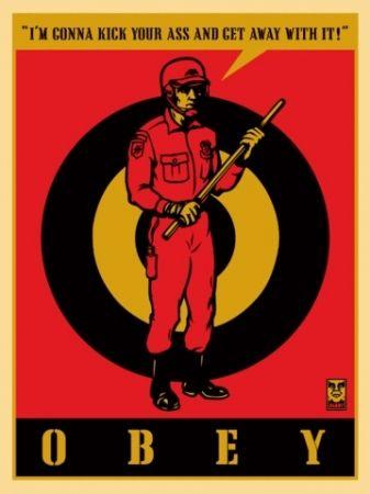 Siebdruck Fairey - Riot Cop, Large Format