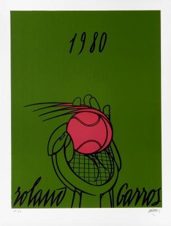 Lithographie Adami - Roland Garros Vert