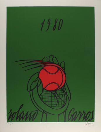 Lithographie Adami - Roland Garros (vert)