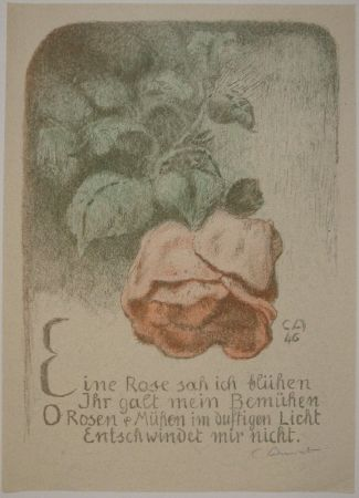 Lithographie Amiet - Rose