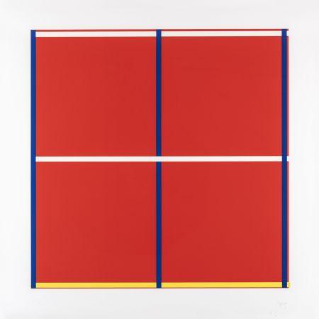 Siebdruck Knoebel - Rot, Gelb, Weiss, Blau 01