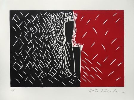 Linolschnitt Kuroda - Rouge et noir