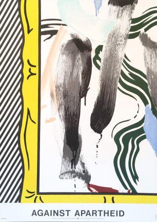 Lithographie Lichtenstein - Roy Lichtenstein 'Against Apartheid' 1983 Original Pop Art Poster
