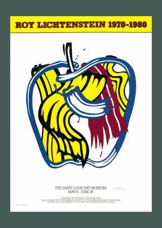 Siebdruck Lichtenstein - Roy Lichtenstein 'Apple' 1981 Hand Signed Original Pop Art Poster with COA