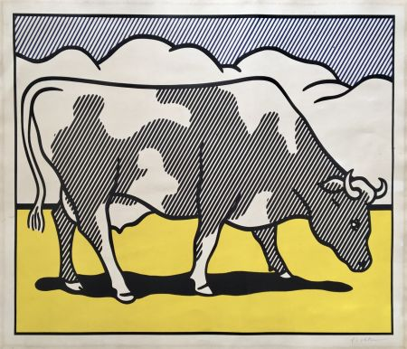 Siebdruck Lichtenstein - Roy Lichtenstein 'Cow Going Abstract' 1982 Hand Signed Original Pop Art Diptych Poster Set