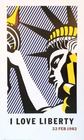 Lithographie Lichtenstein - Roy Lichtenstein 'I Love Liberty' 1982 riginal Pop Art Poster