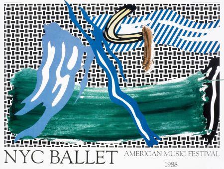 Lithographie Lichtenstein - Roy Lichtenstein 'NYC Ballet' 1988 Original Pop Art Poster