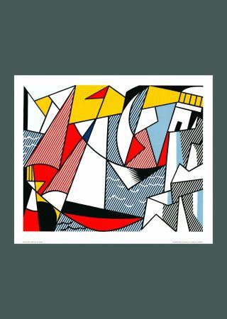 Lithographie Lichtenstein - Roy Lichtenstein 'Sailboats' 1973 Original Pop Art Poster