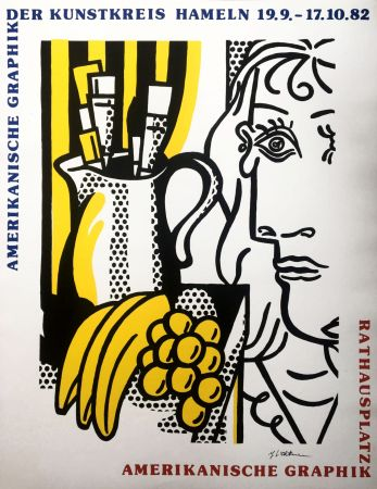 Siebdruck Lichtenstein - Roy Lichtenstein 'Still Life With Picasso' 1982 Hand Signed Original Pop Art Poster
