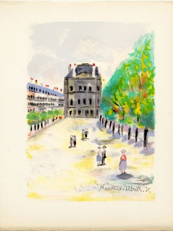 Lithographie Utrillo - RUE DE RIVOLI. (Pavillon de Marsan). Épreuve pour Maurice Utrillo (Paris, 1955)