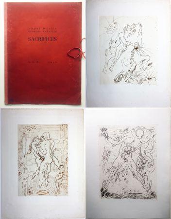 Radierung Masson - SACRIFICES avec un texte de Georges Bataille (GLM 1936).