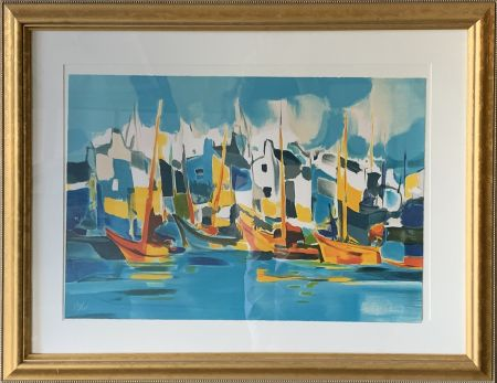 Lithographie Mouly - Sailing the Canals
