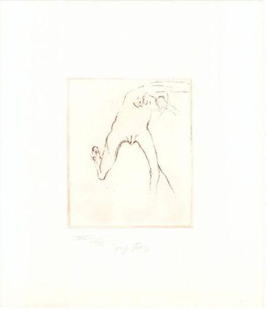 Radierung Und Aquatinta Beuys - Schwurhand: Frau rennt weg mit Gehirn