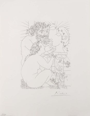 Stich Picasso - Sculpteur Avec Son Modele, Sa Sculpture Et Un Bol D'Anemones (Sculptor with His Model, His Sculpture, and a Bowl of Anemones) from the Vollard Suite