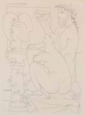 Radierung Picasso - Sculteur avec couple et modele accroupì.