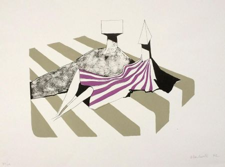 Lithographie Chadwick - Seated Figures on Stripes II