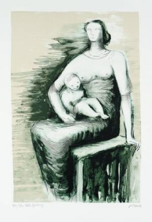 Lithographie Moore - Seated Mother & Child