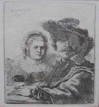 Stich Rembrandt - Self-portait with his wife Saskia.