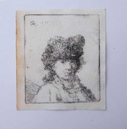 Stich Rembrandt - Self portrait in fur cap:bust