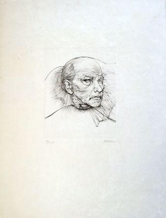 Kaltnadelradierung Bellmer - Selfportrait