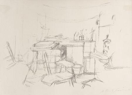 Lithographie Giacometti - Sellette et tabourets dans l'atelier I