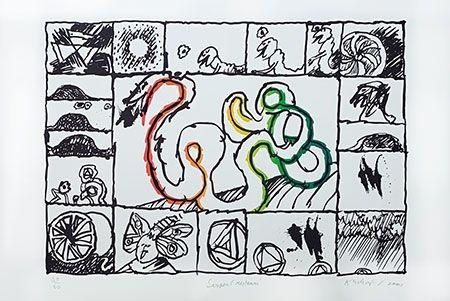Lithographie Alechinsky - Serpent restauré