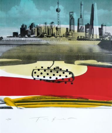 Lithographie Soulie - Shanghai Le Bund