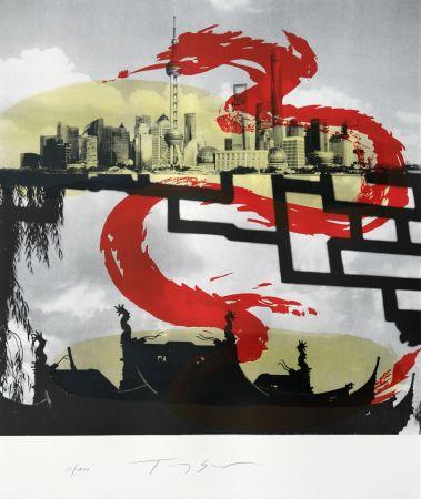 Lithographie Soulie - Shanghai le Dragon