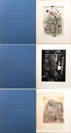Radierung Und Aquatinta Hasegawa - SHOICHI HASEGAWA - JAMES COIGNARD - MAX PAPART : HOMME DANS LA VILLE. 3 GRAVURES ORIGINALES