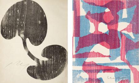 Holzschnitt Arp - Siamesisches Blatt : ONZE PEINTRES VUS PAR ARP. 1949. Deluxe.
