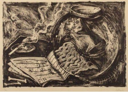 Lithographie Barcelo - Sin título (Pecera y libro)