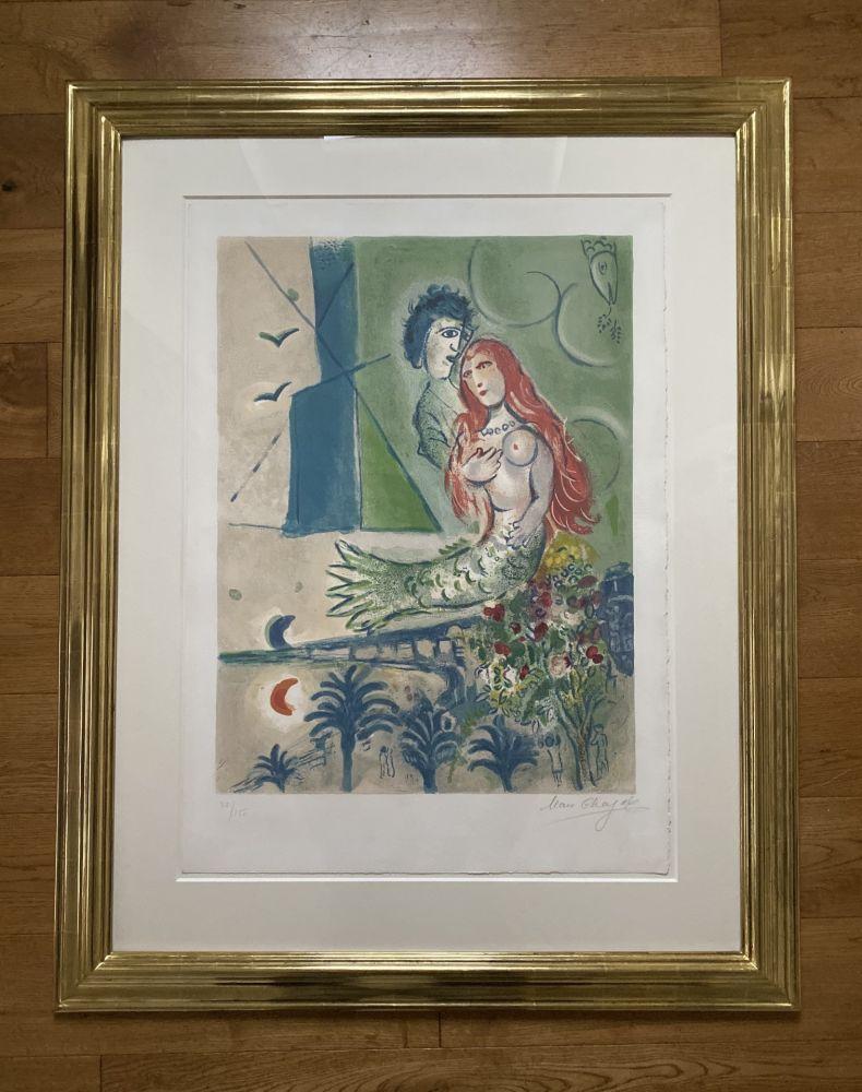 Lithographie Chagall (After) -  Sirène au Poète