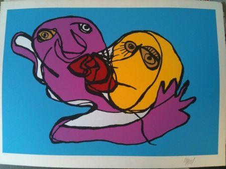 Siebdruck Appel - Sky blue kiss