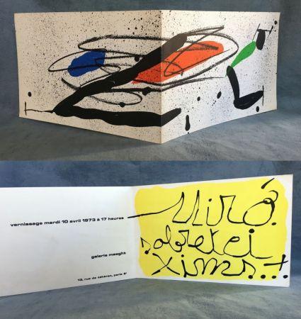 Lithographie Miró - SOBRETEIXIMS…Carton d'invitation pour une exposition Miró à la Galerie Maeght. 1973.