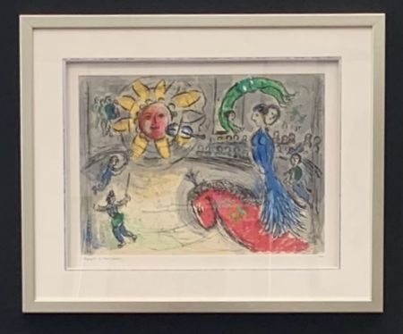 Lithographie Chagall - Soleil au cheval rouge