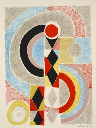 Lithographie Delaunay - Sonia Delaunay (1885-1979). Totem. Lithographie signée. 1970.