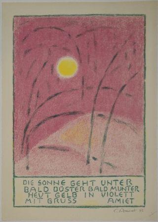 Lithographie Amiet - Sonnenuntergang
