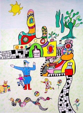 Lithographie De Saint Phalle - Sortie d'école