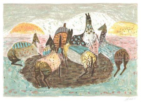 Lithographie Music - Spielende pferde